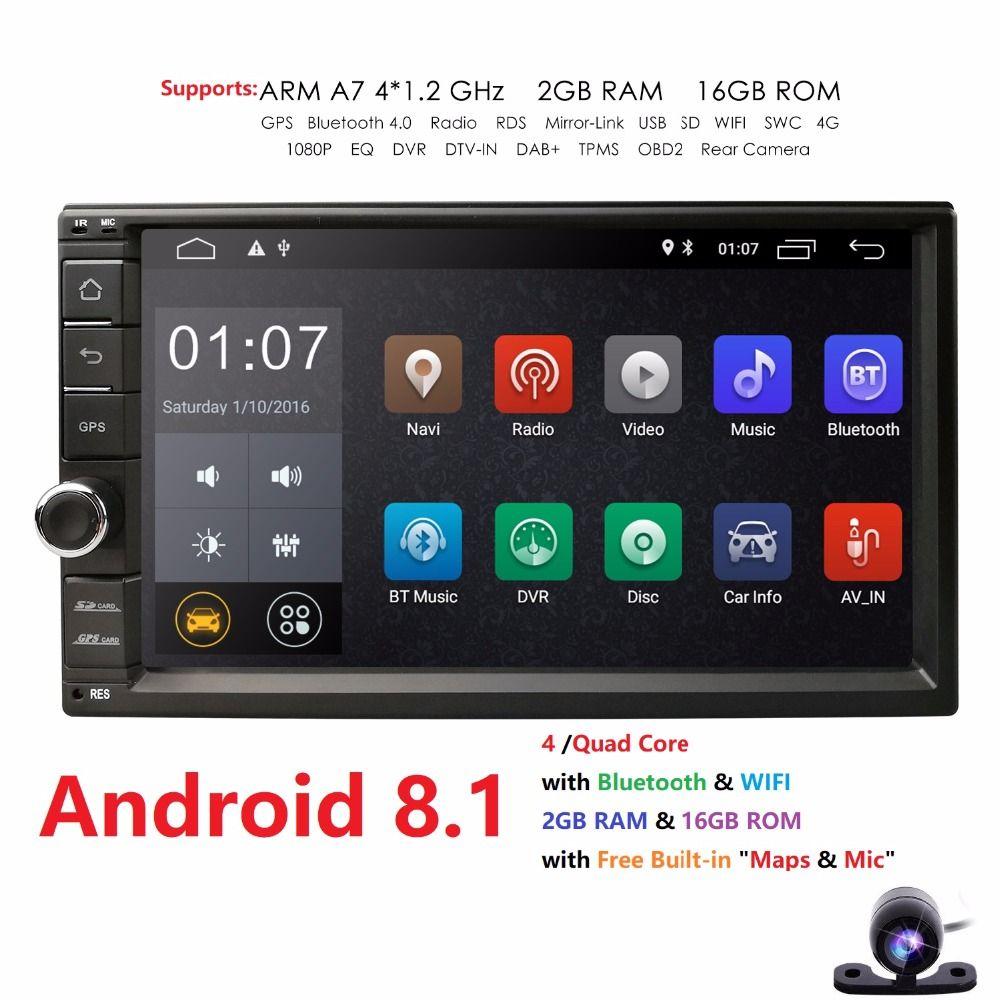 2G+16G Quad Core Android 8.1 car multimedia player gps navigation universal video 2 din car audio for nissan xtrail Qashqai juke