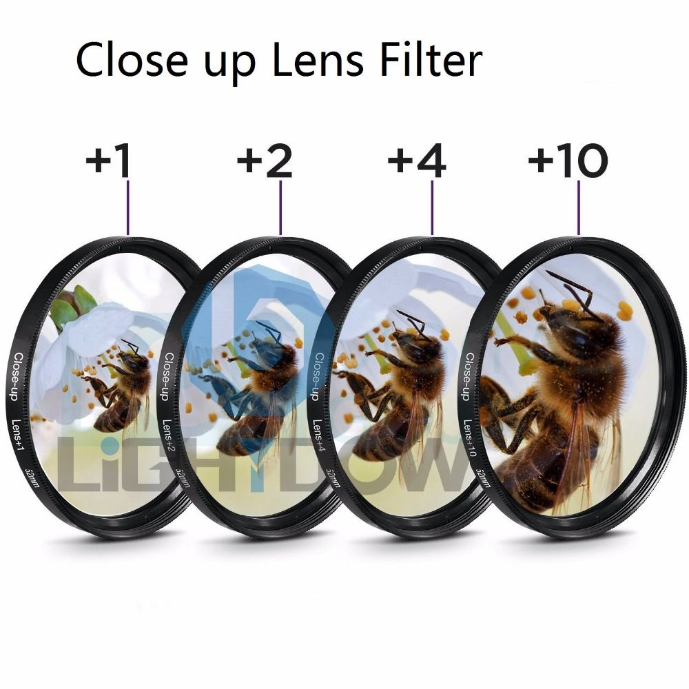 Lightdow Macro Close Up Lens Filter + 1 + 2 + 4 + 10 Filtre Kit 49mm 52mm 55mm 58mm 62mm 67mm 72mm 77mm pour Canon Nikon Sony Caméras