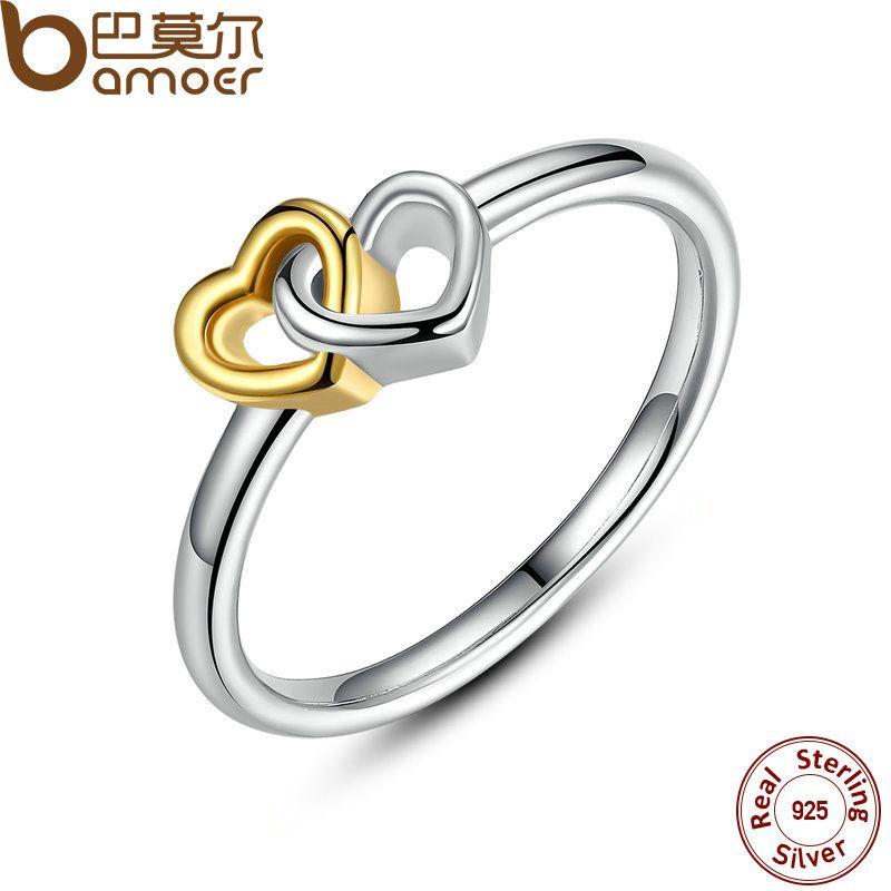 BAMOER D'été Collection 925 Sterling Argent Coeur à Coeur Anneau Double Coeur Fine Jewelry pour les Femmes PA7173