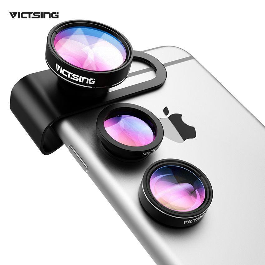 VicTsing 3 En 1 Universal Clip 180 Degrés Caméra Téléphone Objectif Fisheye + 10X Macro + 0.65x grand Angle Lentille Kit pour Smartphones