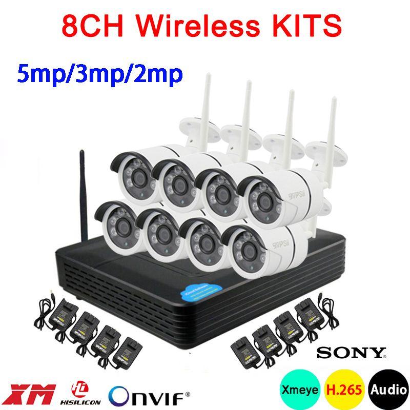 5mp/3mp/2mp sechs Array Infrarot ICsee Wasserdichte H.265 + 25fps 8CH 8 Kanal Audio WIFI Wireless IP kamera kits Kostenloser Versand
