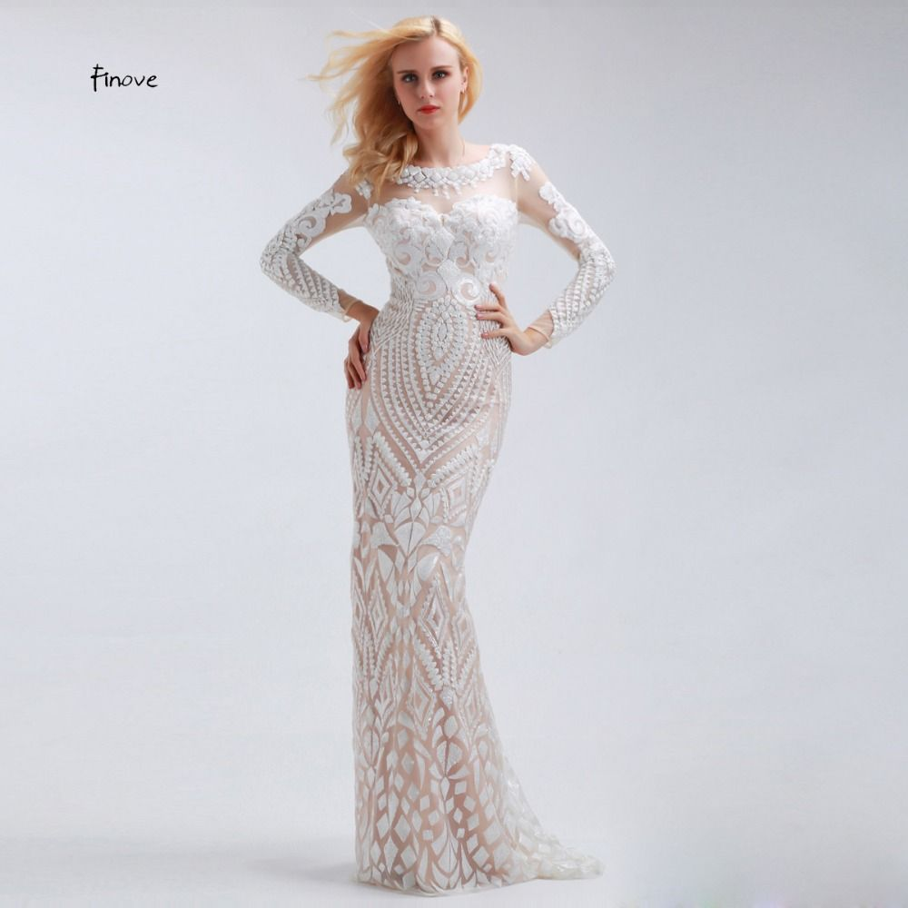 Finove White Straight Sequined Long Evening Dresses with Sleeve Scoop Neck with Tulle Floor Length Formal Plus Size Prom Dresses