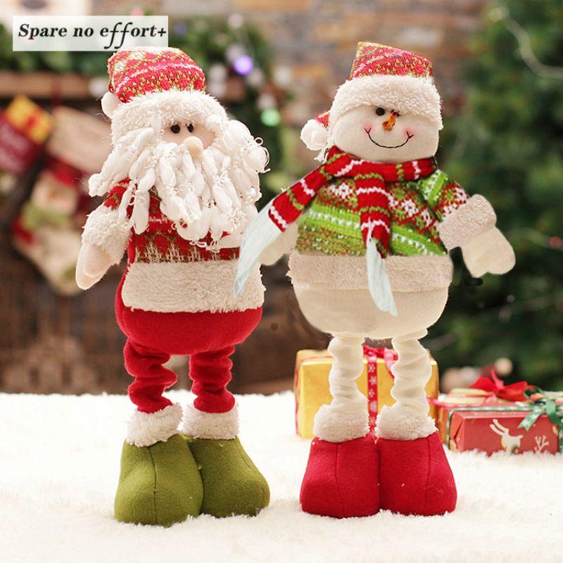 Rétractable De Noël Père noël/Bonhomme De Neige Poupées Debout Navidad Figurine De Noël arbre Ornements Enfants De Noël Cadeaux Jouet