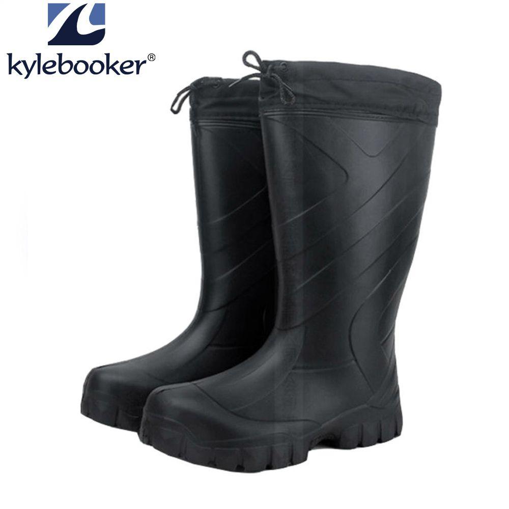 Bottes de pêche d'hiver pour hommes bottes de pêche bottes imperméables chaussures d'eau haute EVA bottes de pluie en caoutchouc plates antidérapantes en plein air