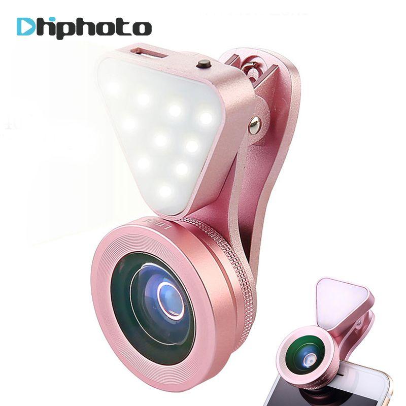 Ulanzi 3 in 1 Objektiv mit Helle Schönheit Led Selfie licht-Weitwinkel Objektiv, 15X Makro Clip-on-objektiv für iPhone Samsung