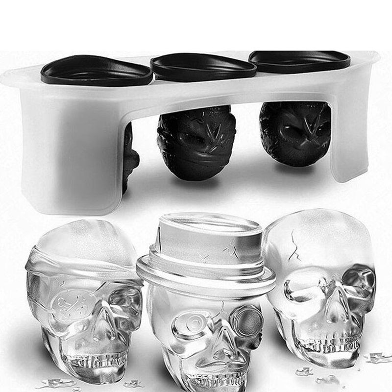 Skull ice molds Ice <font><b>Cube</b></font> Molds Silicone homemade ice popsicle molds whiskey cocktail ice ball maker