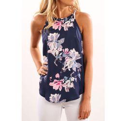 Women Blouses 2017 Casual Elegant OL Floral Blouse Slim Sleeveless Work Wear Blusas Feminina Tops Shirts Plus size