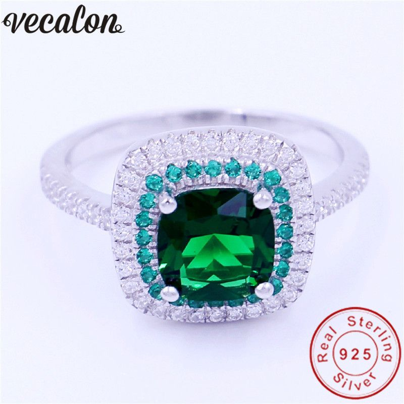 Vecalon Jewelry Real 100% Soild 925 Sterling Silver ring 3ct 5A Zircon Green Cz Engagement wedding Band ring for women men Gift