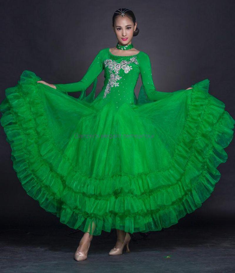New Ballroom dance costumes senior embroidery long sleeves ballroom dance dress for women ballroom dance competition dresses