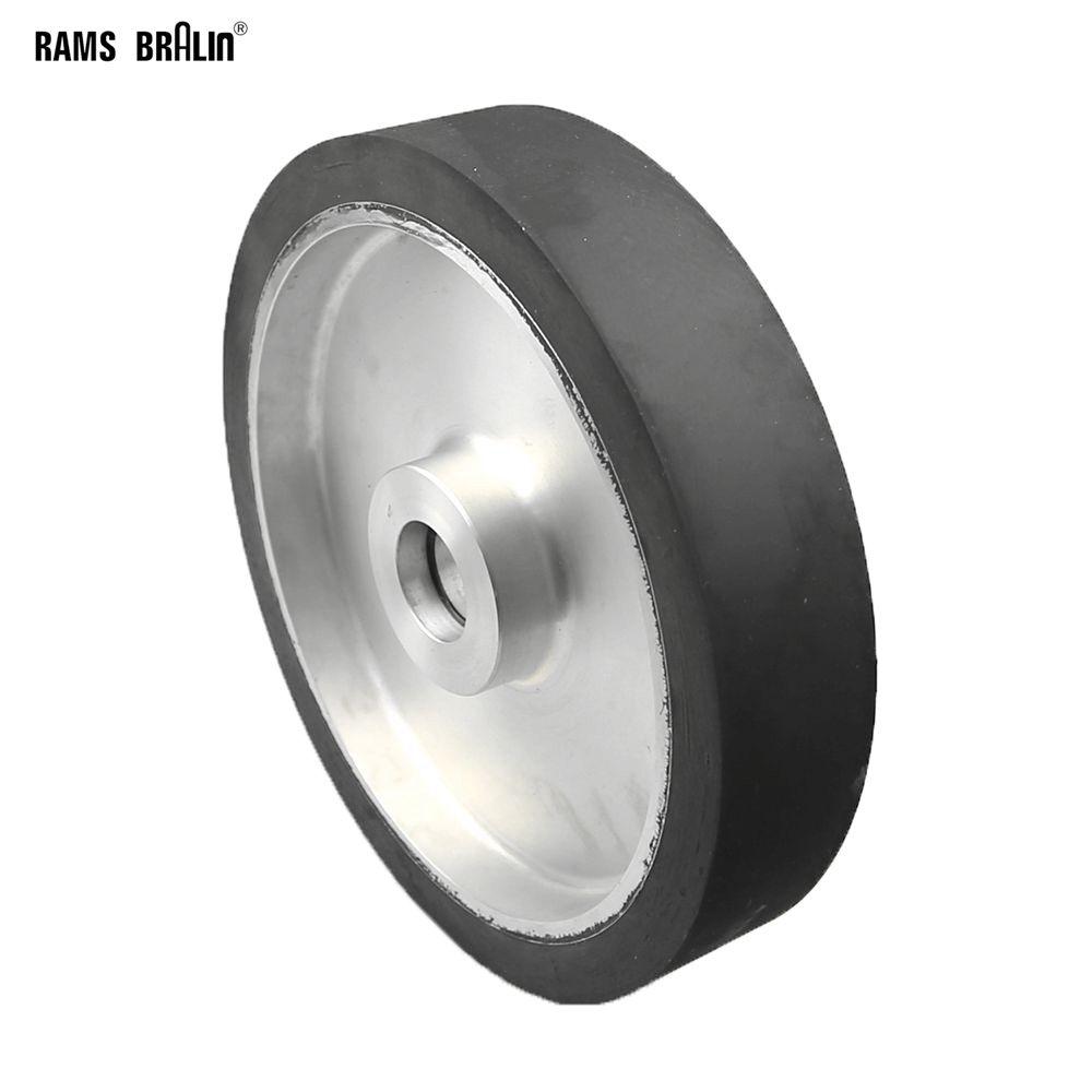 250*50mm Gürtel Grinder Glatte Gummi Kontaktieren Rad Schleif Schleifen Gürtel Set mit Lager ID 12,7mm oder 15mm Installiert
