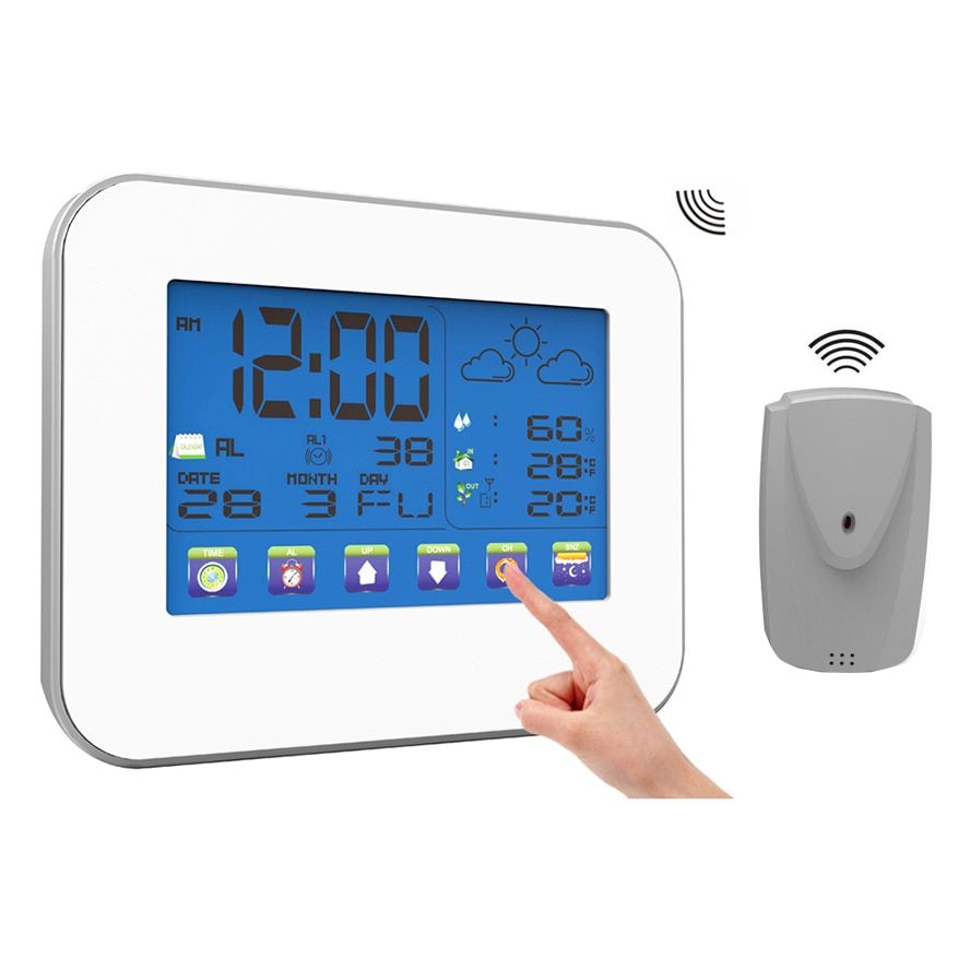Station météo sans fil Intérieur Extérieur Numérique Thermomètre Hygromètre LCD écran tactile indicateur de température et d'humidité avec Capteur