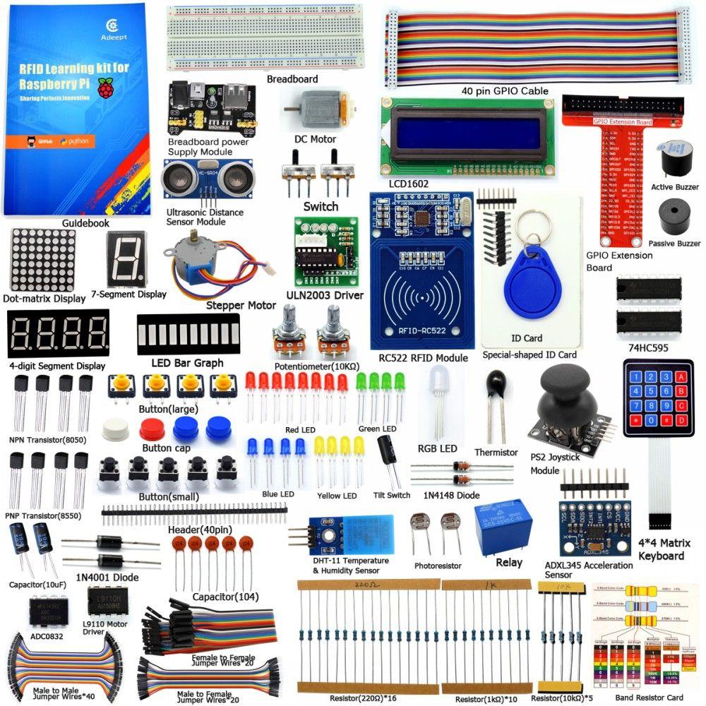Adeept bricolage électrique nouveau Kit de démarrage RFID pour framboise Pi 3 2 modèle B/B + Python avec Guide livre 40 broches GPIO conseil livre bricolage kit
