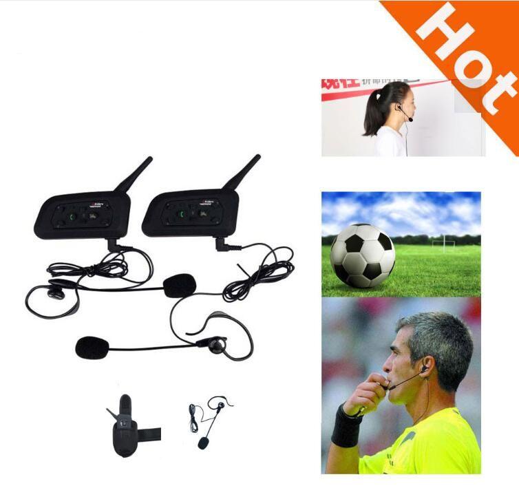 2PCS/lot V6C 1200M Intercom Full Duplex Two-way Football Referee Coach Judger Arbitration Earhook Earphone