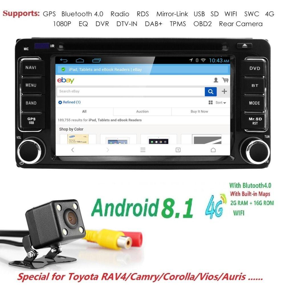 Android 8.1 Fit für Toyota In Dash Stereo Auto DVD Player GPS Navigator Radio SWC DVR RDS DVBT DAB + TPMS BT USB SD Rück Kamera