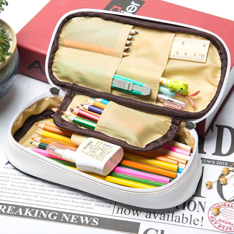 Kawaii Pencil Case Large Capacity PU Leather Pencil Bag School Supplies Sweet Summer Candy Color Stationery Box Gift Pen Holder