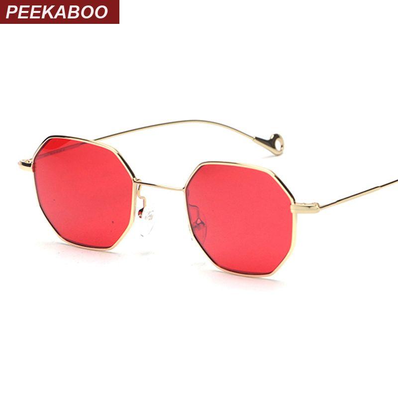 Peekaboo bleu jaune rouge teinté lunettes de soleil femmes petit cadre polygone 2017 marque design vintage lunettes de soleil pour hommes rétro