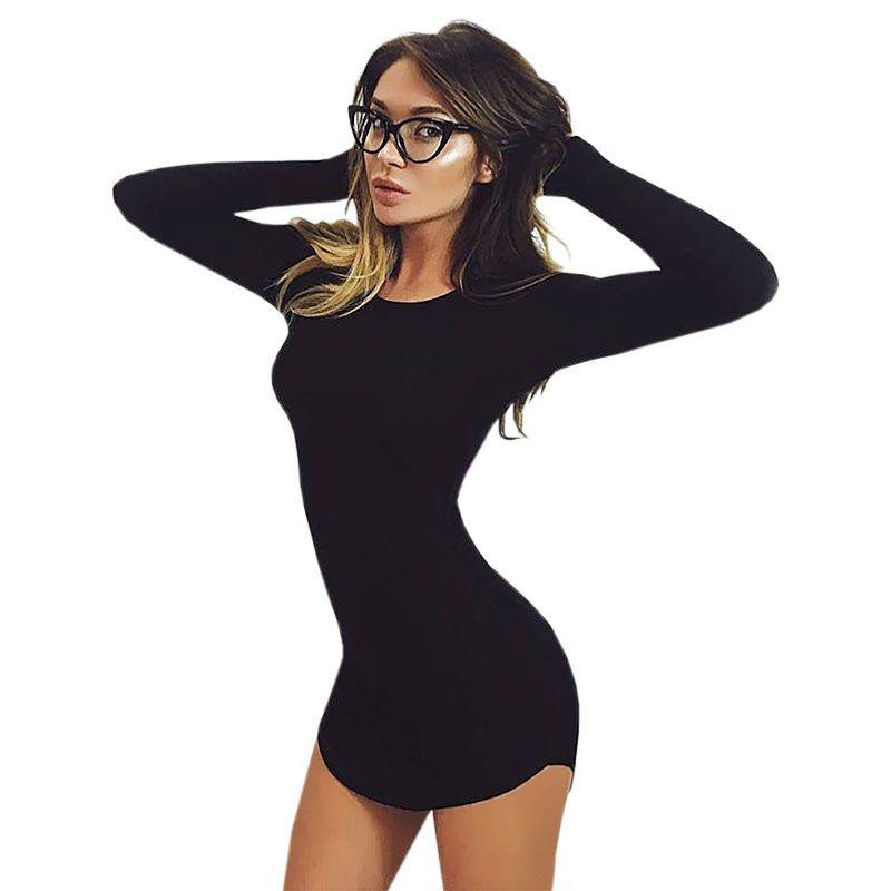 2018 mode femmes de haute qualité grande taille S-2XL printemps à manches longues irrégulière slim moulante sexy Mini robe robes Vestido Curto