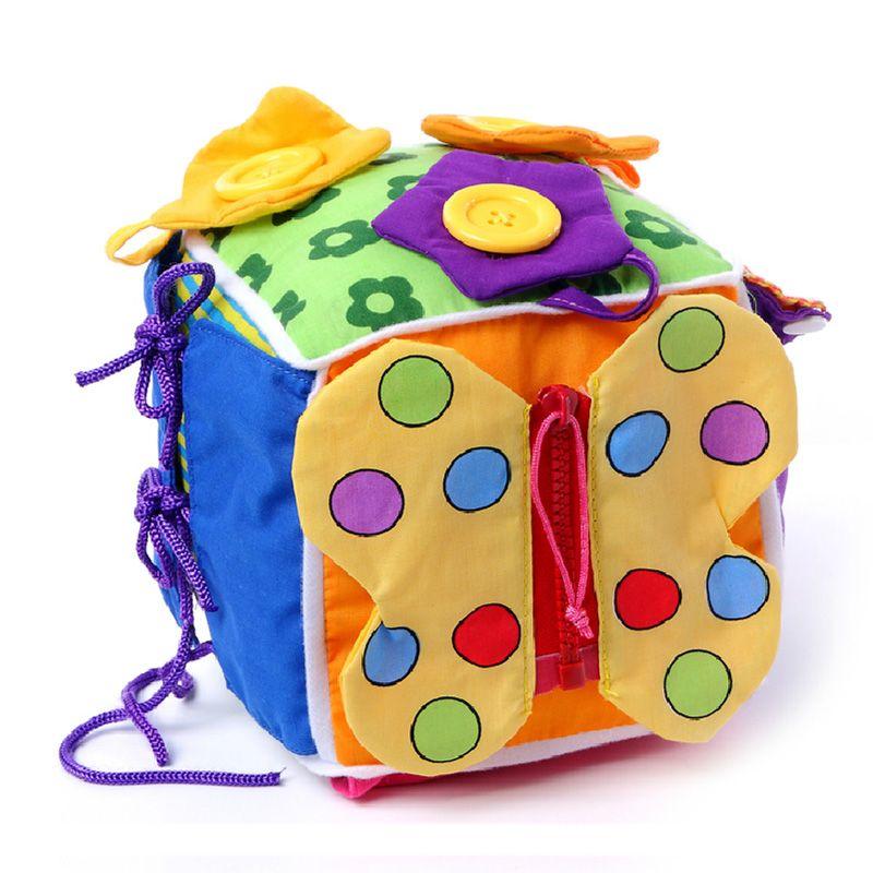 Детские развивающие игрушки 13-24 месяцев ребенок учится монтессори игрушка ткань научиться одеваться Cube Мягкая погремушка образования малы...