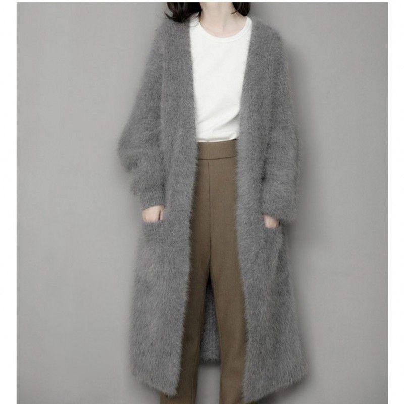 Genuine mink kaschmir-pullover frauen reinem kaschmir strickjacke gestrickte nerz jacketn winter lange pelzmantel verschiffen frei M1035