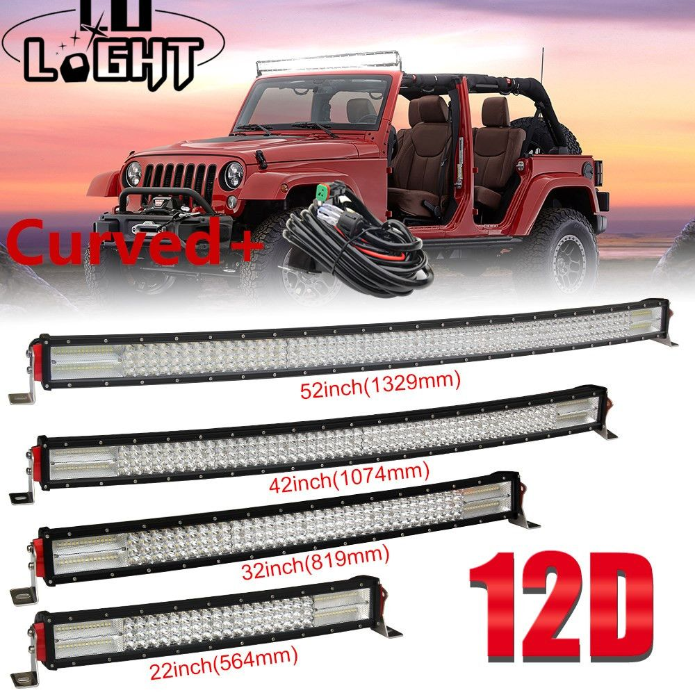 CO LIGHT 22 32 42 52 inch 12D Curved LED Light Bar Combo 12V 24V Off-Road Led Bar For SUV 4X4 Lada Uaz Jeep Auto Driving Light