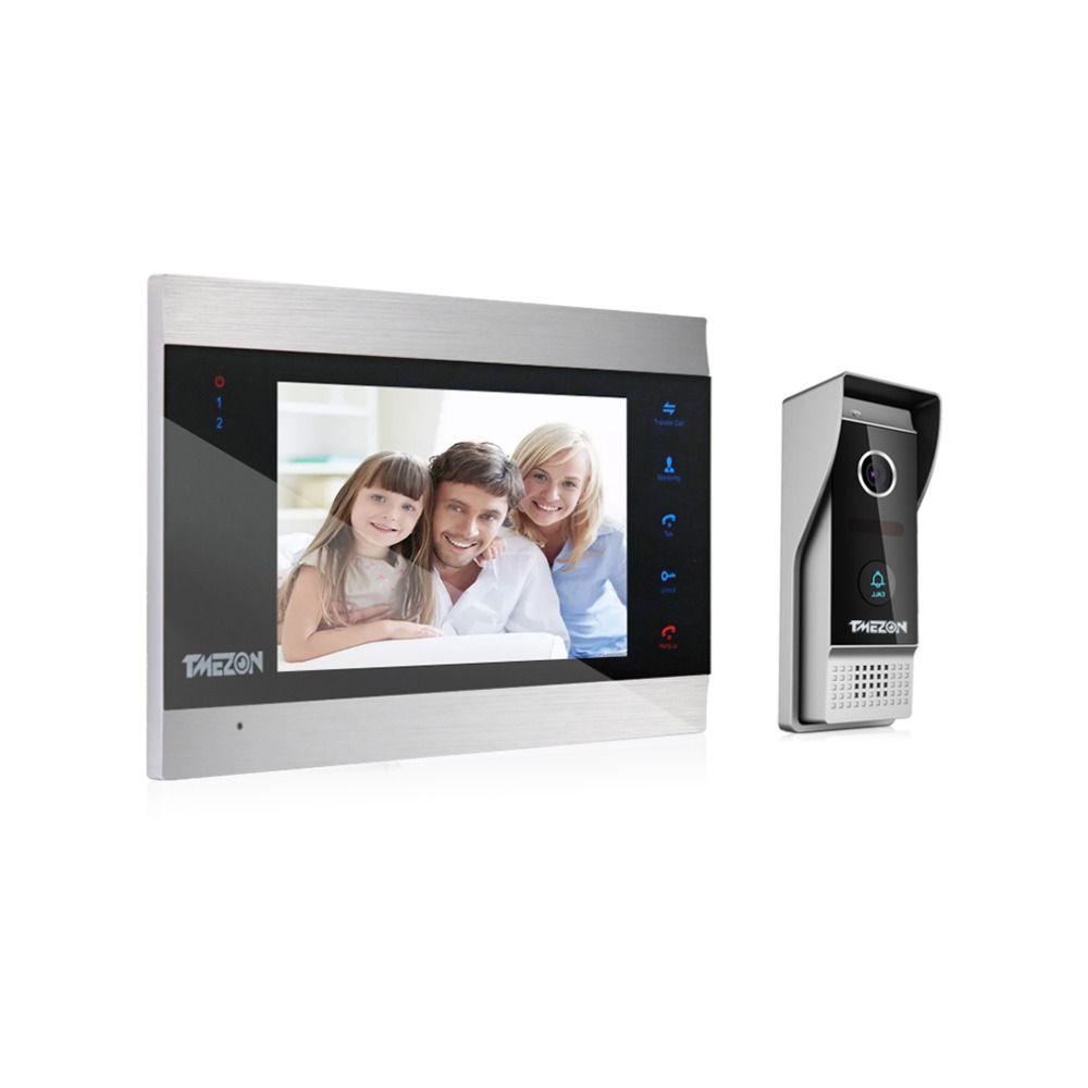 TMEZON 7 Inch TFT Wired Video Intercom System with 1x 1200TVL Waterproof Door Phone Camera,Support Recording / Snapshot Doorbell