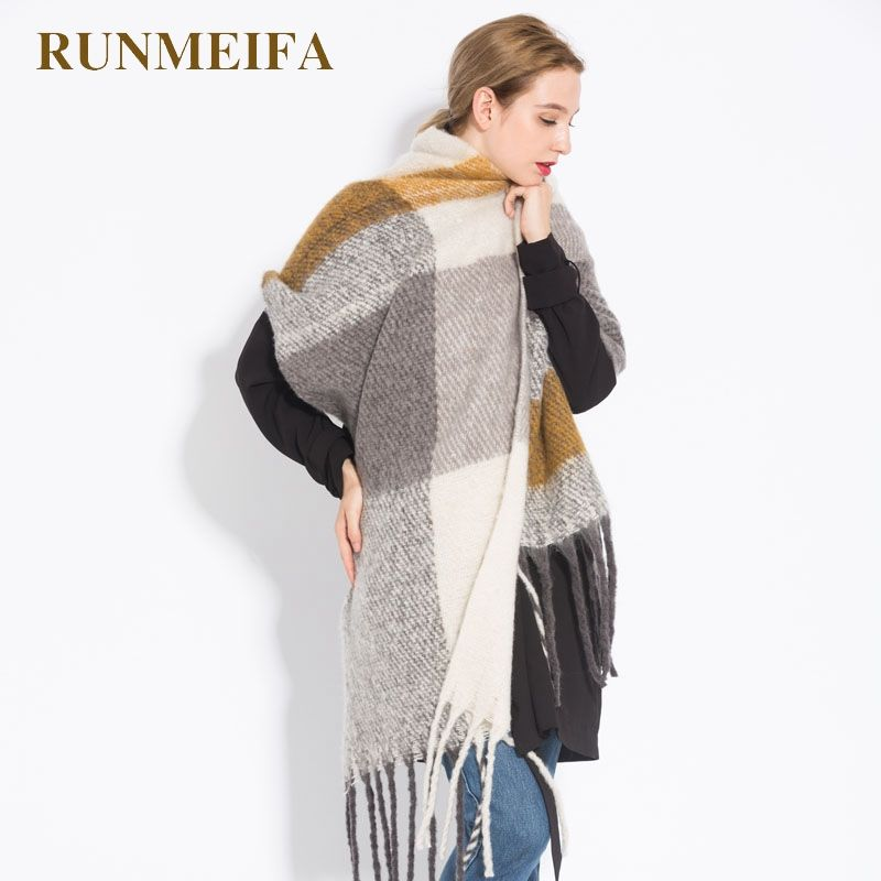 RUNMEIFA Fashion Shawls Warm Scarves For Women Winter Scarf Luxury Brand Pashmina Foulard Femme Shawl Imitation Cashmere Scarf