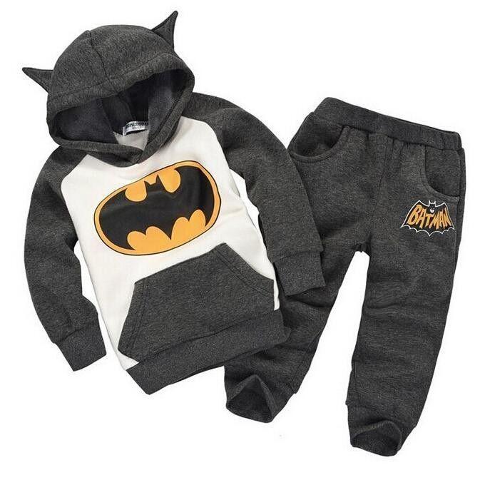 Batman ensemble bébé garçons vêtements ensemble enfants hoodies pantalon épaissir hiver chaud vêtements garçons filles ensembles 2016 automne nouveauté
