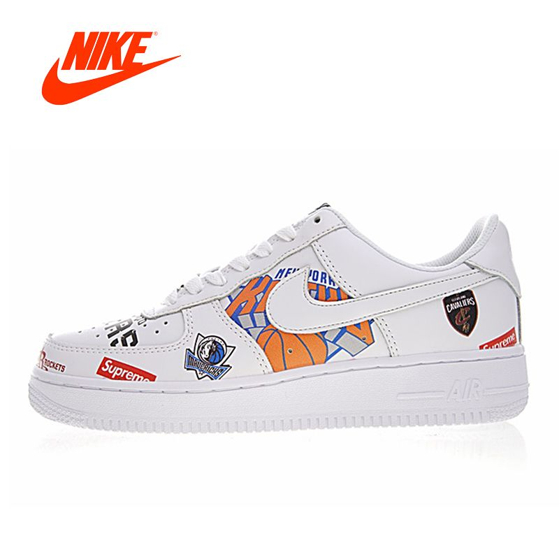 Original New Arrival Authentic Nike Air Force 1 AF1 X Supreme X NBA Mens Skateboarding Shoes Sport Outdoor Sneakers AQ8017-300