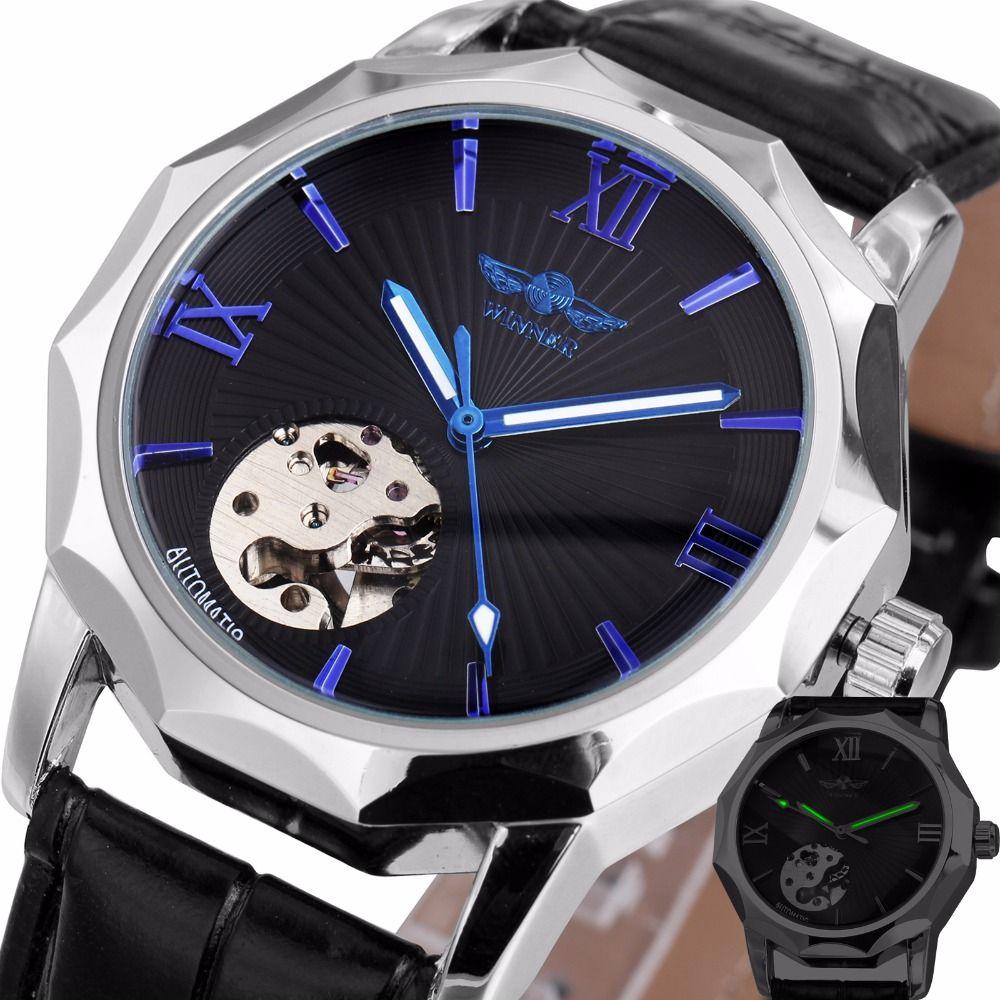 Победитель синий экзотические Двенадцатиугольник Дизайн Скелет циферблат Для мужчин часы Геометрия верхней бренд класса люкс автоматичес...
