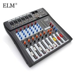 ELM Professional 6 Channel Karaoke Audio Sound Mixer Controller Mixing Amplifier Console With USB 48V Microphone Phantom Power