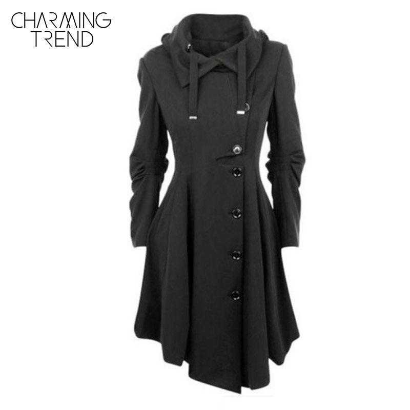 Charmingtrend куртка 2017 Новинки для женщин осень сплошной черный сложите воротник асимметричный подол Однобортный женские верхняя одежда