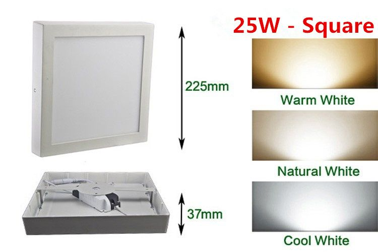 Free shipping 9W/15W/25WRound/Square Led Panel Light Surface Mounted Downlight lighting Led ceiling down AC85-265V + Driver