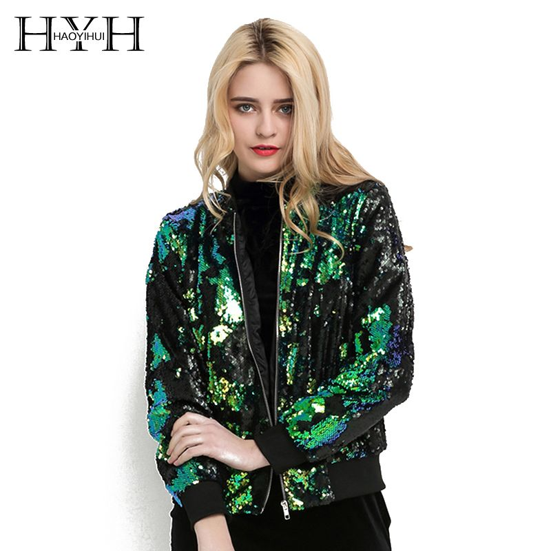 HYH HAOYIHUI Autumn Women Sequin Coat Green Bomber Jacket Long Sleeve Zipper Streetwear Preppy Loose Casual Basic Lady Outwear