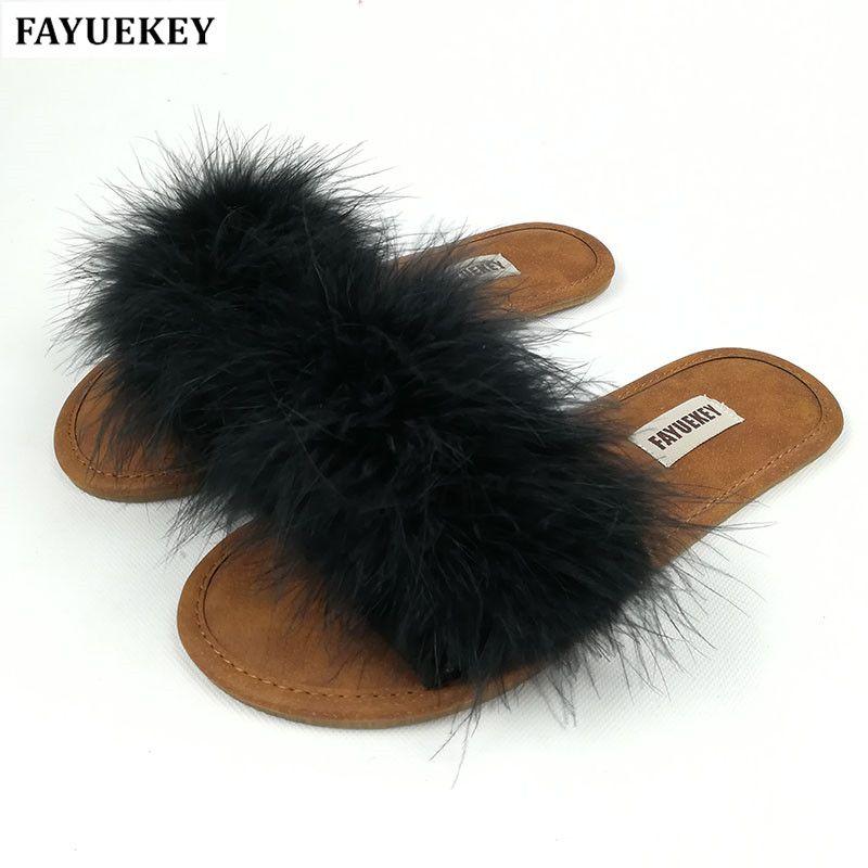FAYUEKEY nouvelle mode été maison fourrure pantoufles pour femmes intérieur étage extérieur plage pantoufles chaussures plates livraison gratuite