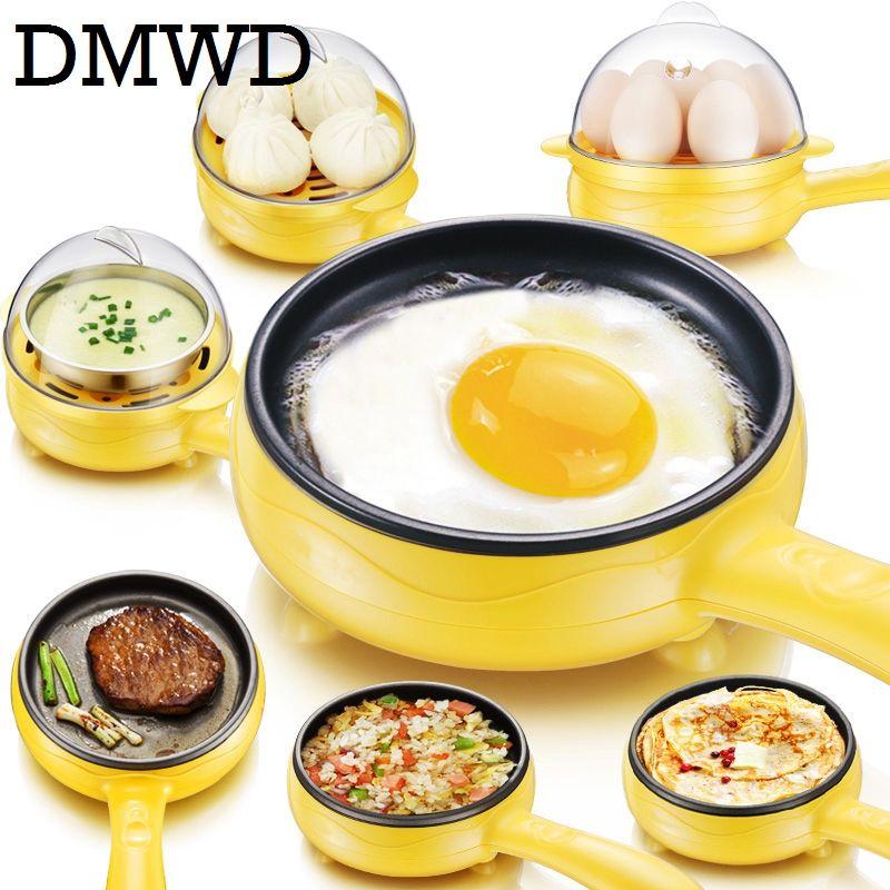 DMWD Multifonction ménage mini oeuf omelette Crêpes Électrique Frit Steak Poêle Non-Bâton œufs Durs chaudière vapeur L'UE