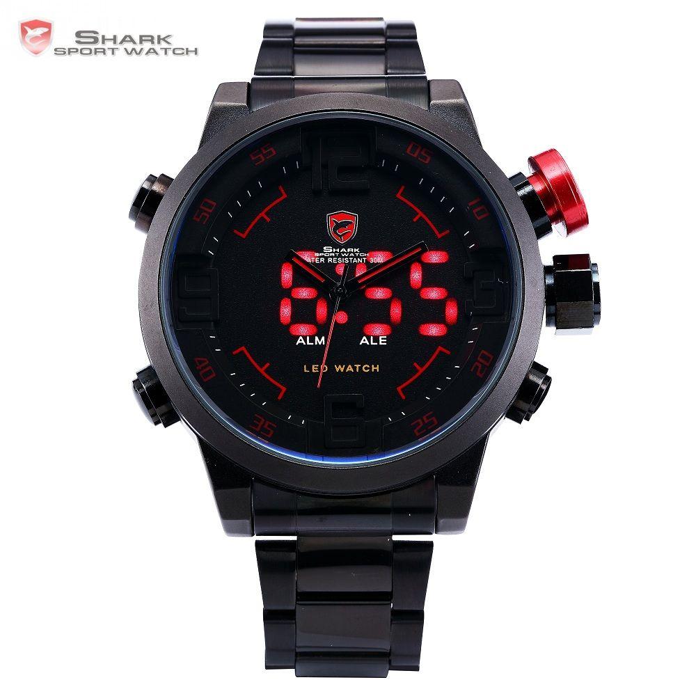 Gulper <font><b>SHARK</b></font> Sport Watch Digital LED Men Top Brand Luxury Black Red Calendar Steel Band Wrist Quartz Watches Reloj Hombre /SH105