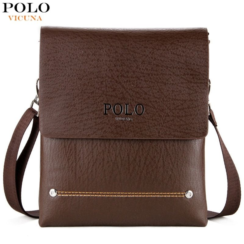 VICUNA POLO Double Main Pocket Men's Messenger Bag With 2 Rivets High Quality Small Leather Man Bag For Phone Crossbody Bag Male