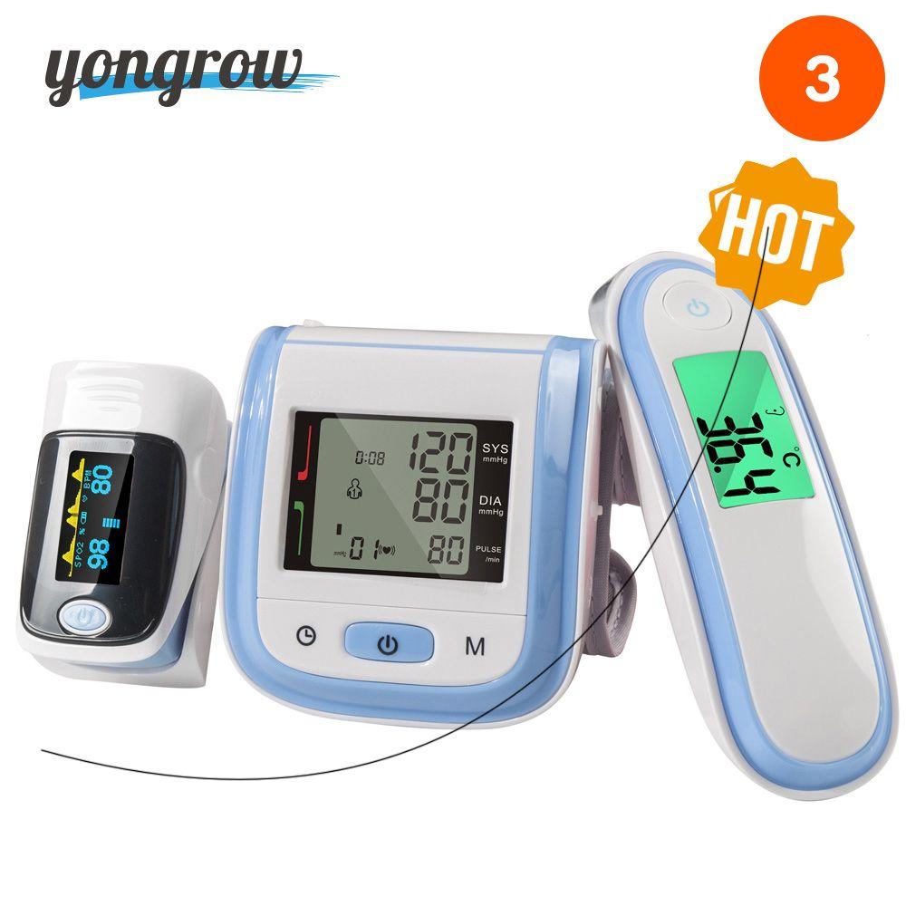 Yongrow Digital Fingertip Pulse Oximeter SpO2 Wrist Blood Pressure Monitor Ear Infrared <font><b>Thermometer</b></font> Family Health Care Oxygen PR