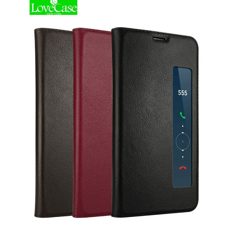 LoveCase Genuine Leather Cases for Huawei Mate 10 Pro Case Call Display for Mate 10 Business Flip Cover Luxury Coque Capa Fundas