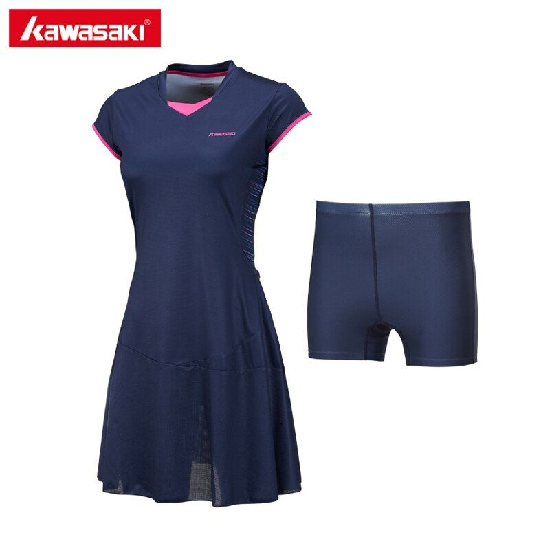 Kawasaki Respirant De Tennis Robes avec Shorts pour Femmes Filles À Séchage Rapide 100% Polyester Sport Robe De Tennis Vêtements SK-172701