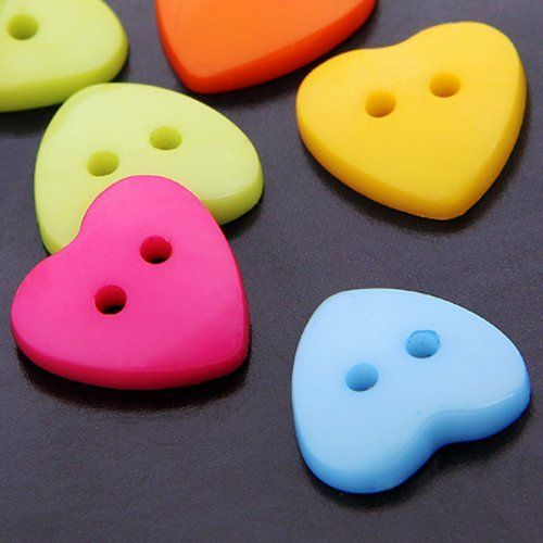 100X Plastic Heart two-hole Button Sewing Buttons