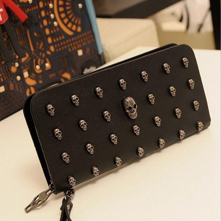 Homme sac en cuir de haute qualité crâne portefeuille personnalité pochettes Rivets PU cuir sac à main carte à glissière titulaire Punk portefeuilles H006