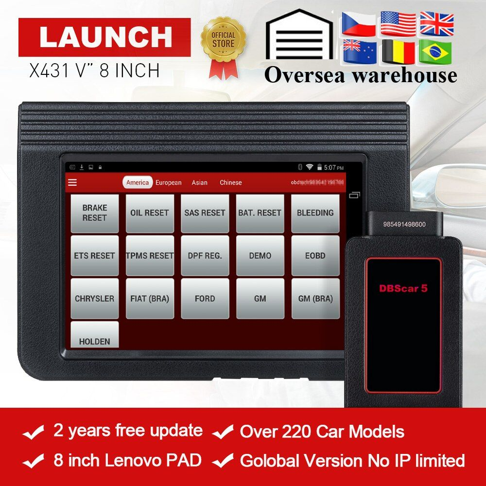 LAUNCH X431 V 8 global version full ECU system diagnostic scanner x-431 V Bluetooth/Wifi Scan tool used in 200+ countries CRP123