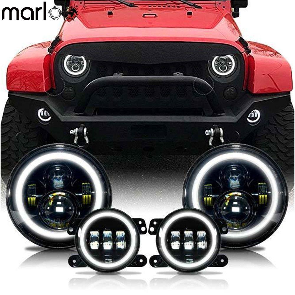 Marloo 7 zoll LED Halo Scheinwerfer + 4 zoll LED Nebel Licht DRL Combo Kit Für Jeep Wrangler JK 2007 -2017