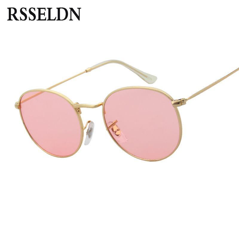 RSSELDN Brand Designer Women Round Sunglasses Men Fashion Vintage Metal Frame Ocean Sun Glasses Shade Pink Tinted Eyewear UV400