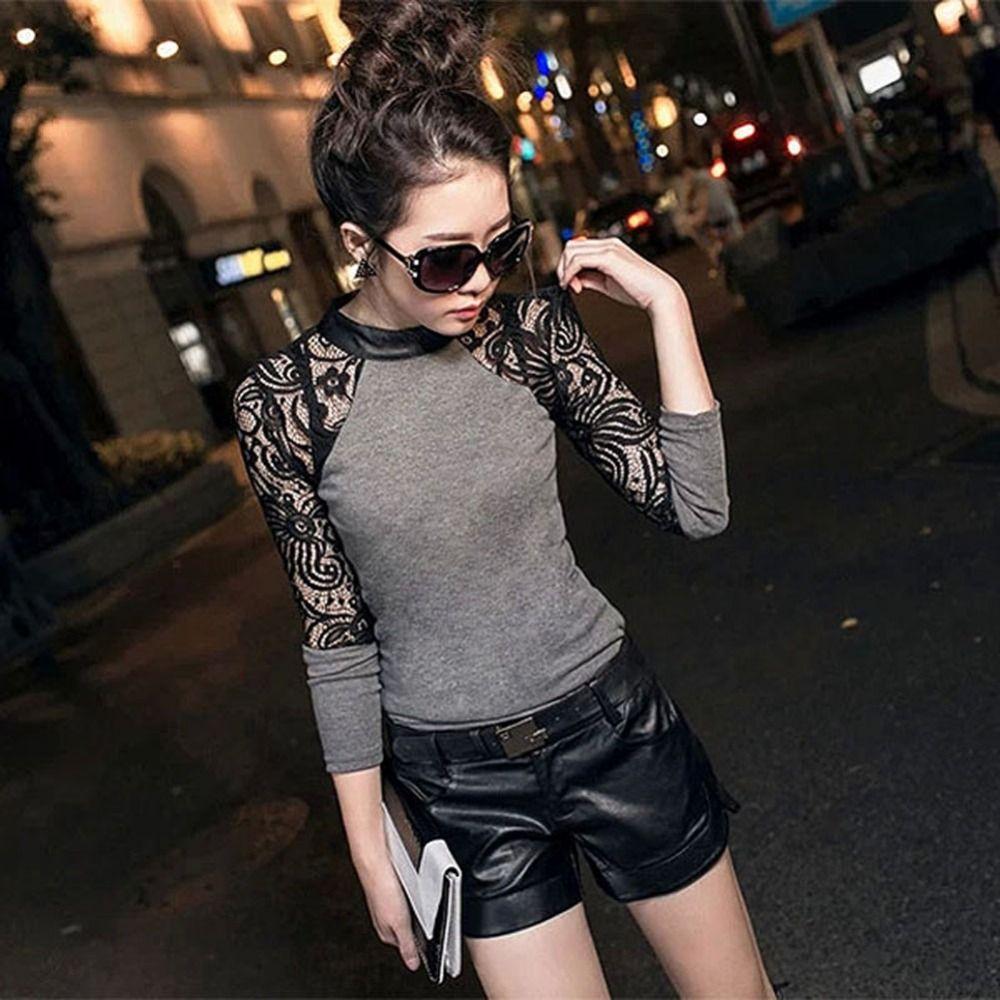 Femmes manches longues dentelle T-shirt vêtement tricoté fin en cuir col rond tricoté hauts noir, gris S M L XL XXL