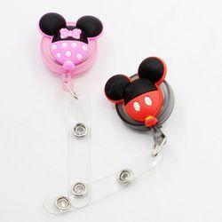 1 pcs Nouveau Dessin Animé Mickey Minnie Coloré Rétractable Pull Badge ID Lanière Nom Tag Carte Badge Holder Bobines Pour ENFANTS