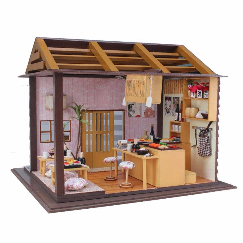 DIY Wood Dollhouse Miniature Doll Toys With LED Furniture Cover Sushi Bar Japanese Style Home Decoration Gift