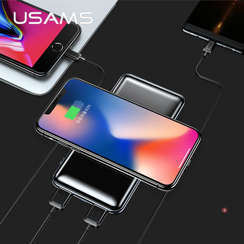 USAMS 5V 2A PB2 Type c micro USB Ports 10000mah Qi Wireless Charger LED Display Power Bank Built-in Wireless Charging Power Bank
