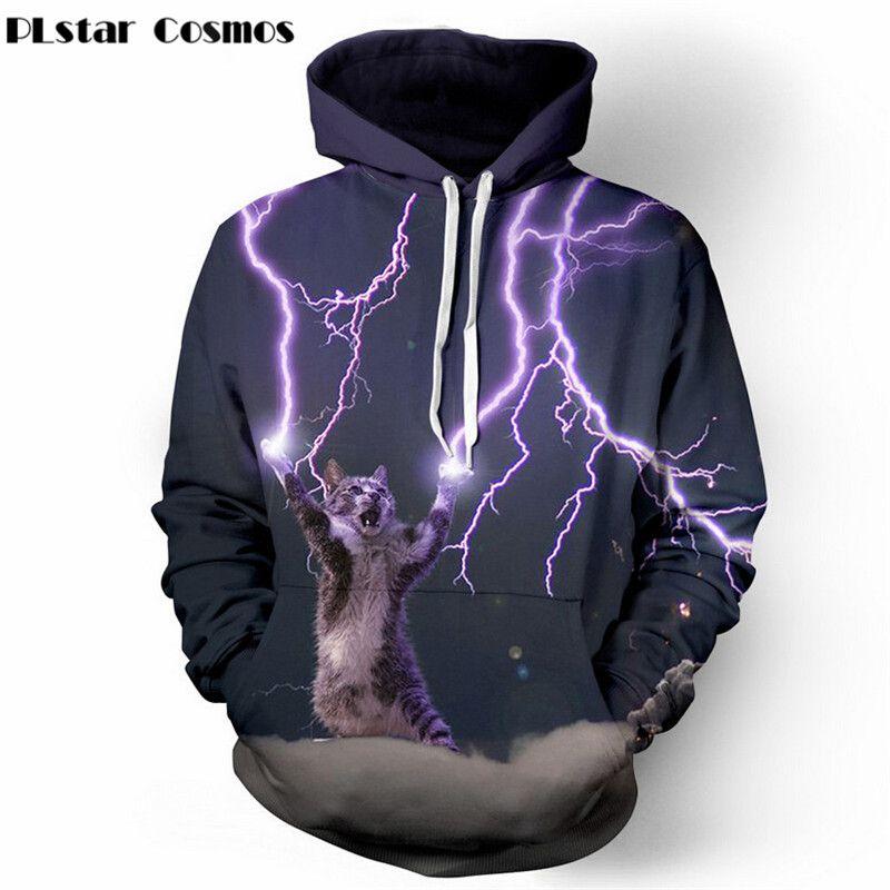 PLstar Cosmos Thundercat sweat chat lightning thunder 3d à capuche femmes hommes Sweats harajuku à capuche décontracté Sweats